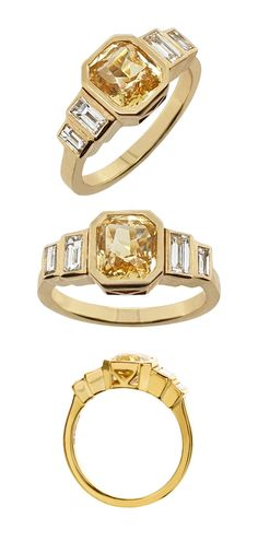 Get ready to 'wow' with this 2.11 carat emerald-cut yellow sapphire ring. This ring makes a statement in all 18ct yellow gold ring. The four matched baguette diamonds weigh a total of 0.42 carat. The striking Art Deco influence makes this an unusual engagement ring or gift for an occasion to remember. Visit us in Hatton Garden to view the ring or order online. #YellowSapphire #ArtDeco #BaguetteDiamond #EngagementRings #YellowGoldRings #LVR #LondonVictorianRingCo #HattonGarden