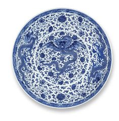 A rare and large Imperial blue and white 'dragon' dish, Qianlong seal mark and of the period (1736-1795)