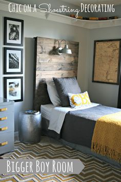 Bigger Boy Room Reveal - this is so fun! Love every part of it especially the headboard and light!