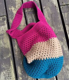 This is a pattern for a hobo style tote or market bag. Put a liner in it and make it a purse or a knitting bag! It's really up to you.