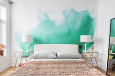 Why every hangout-worthy apartment needs a statement wall – Well+Good Watercolor Wallpaper, Watercolor Walls, Painting Wallpaper, Bedroom Wallpaper, Green Watercolor, Adhesive Wallpaper, Wallpaper Ideas, Wall Wallpaper, Diy Home Decor