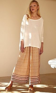 Cassart Pants, wide-leg patterned crepe pants with contrast side panels and hem.