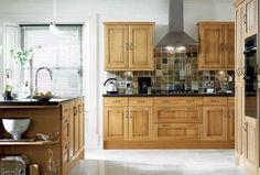 oak cabinets - Google Search Honey Oak Cabinets, Oak Kitchen Cabinets, Kitchen Flooring, Kitchen Backsplash, Kitchen Countertops, Dark Oak Cabinets, Yellow Cabinets, Backsplash Ideas, Tile Ideas