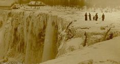 One of the earliest images showing a frozen Niagara Falls, in sepia tones, is thought to be from 1911 or 1912, though skeptics have question...