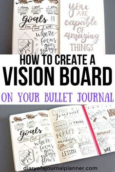 Bullet journal vision board - - Learn hot to create a vision bord in your bujo. A easy step by step tutorial to create your own vision journal; a bullet journal vision board for Bullet Journal Vision Board, Bullet Journal And Diary, Bullet Journal Inspiration, Vision Journal Ideas, Vision Board Ideas Diy, Bullet Journals, Vision Board Template, Creating A Vision Board, Bujo