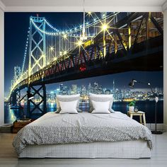 Custom 3D HD Photography Photo Wallpaper Modern City Night Views Bridge River Wall Mural Non-woven Wall Paper For Bedding Room #Affiliate