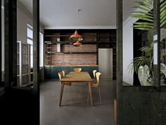 visualization of kitchen, lofts as inspirations, red brick, arne jacobsen 's ant chairs, epoxy floor,
