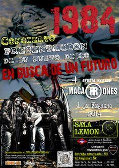 Entradas para 1984 + Macarrones en Madrid el 1 de febrero 2014 en notikumi