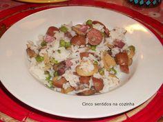 Cinco sentidos na cozinha: Arroz com salsichas, cogumelos e bacon