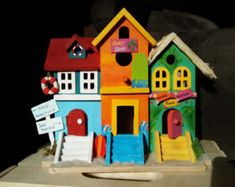 Check out our birdhouse selection for the very best in unique or custom, handmade pieces from our shops. Birdhouse Designs, Birdhouse Ideas, Birdhouses, Birthday Wine Glasses, Vacation Village, Bird Houses Painted, Christmas Town, Hand Painted Shoes, Wooden Hand