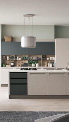 Kitchen Design Open, Contemporary Kitchen Design, Pantry Design, Interior Design Kitchen, Minimal Kitchen Design, Modern Grey Kitchen, Contemporary Kitchen Cabinets, Home Decor Kitchen, Home Kitchens