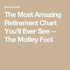 The Most Amazing Retirement Chart You'll Ever See -- The Motley Fool Preparing For Retirement, Retirement Advice, Retirement Cards, Retirement Planning, Family Emergency Binder, Retirement Strategies, Social Security Benefits, The Motley Fool, Stay Young
