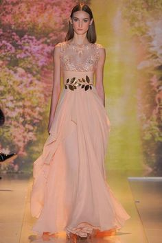 Zuhair Murad | Spring 2014 Couture Collection | Style.com | Peach and gold empire gown
