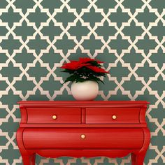 Wall Stencil Large Moroccan Stencil Eugene for Painted Wallpaper and Home Decor. Purchased 6/2014