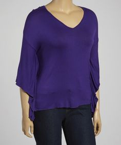 Love this Purple Sidetail Top - Plus by Poliana Plus on #zulily! #zulilyfinds