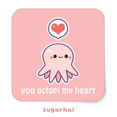 Cute pink octopus stickers from sugarhai.