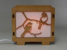 Chickadee Lamp Night Light sweet side table wood laser cut n crafted night light for bedroom