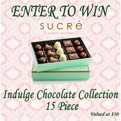 ENTER TO WIN – Sucre – Indulge Chocolate Collection Giveaway – Beautiful and Yummy Chocolate – Valued at $30