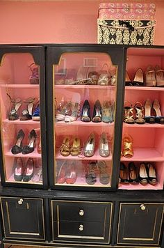 shoe china cabinet - such a cute idea, if i only had that many cute shoes to show off!
