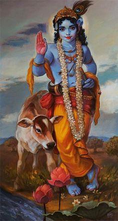 Krishna with gau Hare Krishna, Krishna Leela, Krishna Radha, Hanuman, Lord Krishna Wallpapers, Radha Krishna Wallpaper, Lord Krishna Images, Radha Krishna Pictures, Arte Shiva