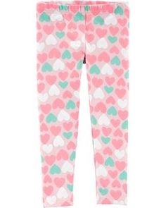 She'll fall in love with these girls' Carter's heart-print leggings. In pink/mint. Toddler Leggings, Girls In Leggings, Leggings Are Not Pants, Baby Girl Pants, Carters Baby Girl, Baby Jeans, Sonus Festival, Unicorn Leggings, Toddler Girl Style