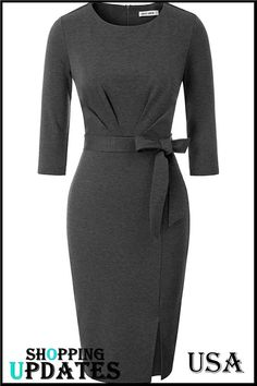 Women Sleeve Wear to Work Business Split Pencil Dress with Belt. Pencil Dress Outfit, Black Pencil Dress, Black Dress Outfits, Stylish Work Outfits, Classy Outfits, African Wear Dresses, Work Dresses For Women, Looks Chic, Mode Hijab