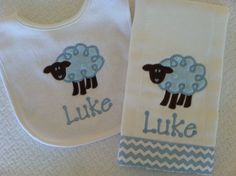Personalized Sheep Bib and Burp Cloth Set, Brown and Blue with Chevron stripe ribbon, Baby Gift via Etsy