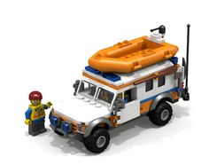 When I looked at the 2013 summer lineup I got so exited about the new coast guard sets, I decided to build my own coast guard truck. This is the result: I . Lego Ambulance, Lego Coast Guard, Jurassic Park Jeep, Lego City, Water Rescue, Lego Truck, Lego Ship, Lego Pictures, Lego Room
