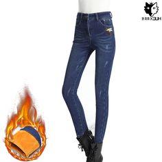 33.99$ (Watch more - https://alitems.com/g/1e8d114494b01f4c715516525dc3e8/?i=5&ulp=https%3A%2F%2Fwww.aliexpress.com%2Fitem%2FHUOX-Winter-Embroidered-Bee-Warm-Women-Jeans-Fashion-Ripped-High-Waist-Jeans-Ladies-Elegant-Skinny-Denim%2F32755360250.html) HUOX Winter Embroidered Bee Warm Women Jeans Fashion Ripped High Waist Jeans Ladies Elegant Skinny Denim Pants