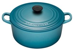 le creuset 3 quart round french oven in carribean. Le Creuset, Kitchen Must Haves, Cobalt, Cookware, Kitchen Remodel, Oven, French, Cooking, Kitchen Things