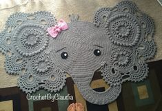 Crochet Patterns Elephant Rug : Josefina Elephant rug crochet rug nursery by CrochetByClaudia