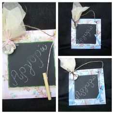 I made these chalkboards as favors for the children who came to the christening
