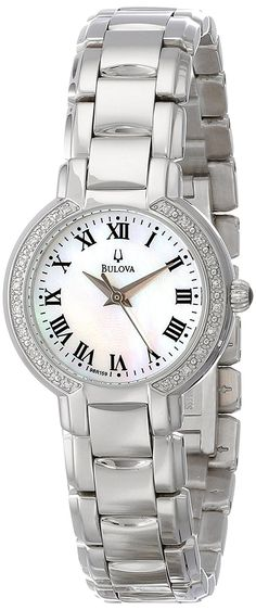 Bulova Women's 96R159 Classic Stainless Steel Diamond-Accented Watch >>> Discover this special product, click the image