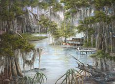 Louisiana Swamp Night Paintings | Go Back > Gallery For > Bayou Paintings