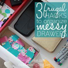 3 Frugal Hacks to Organize Messy Drawers at I'm an Organizing Junkie blog