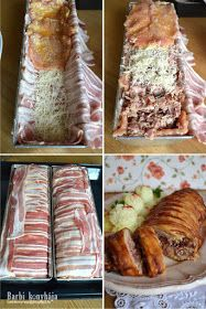 Barbi konyhája: Karajba zárt csülök Meat Recipes, Cooking Recipes, Grilling Recipes, Bacon Dishes, Good Food, Yummy Food, Hungarian Recipes, Pumpkin Recipes, Brownies