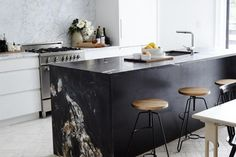 Kitchen Design: Black Marble is the New White Marble | Apartment Therapy #whitekitchen