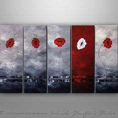 CUSTOM PAINTING - Abstract Floral Modern Painting Poppies Original Art by Gabriela 50x30 LARGE black, white, red. $225.00, via Etsy.