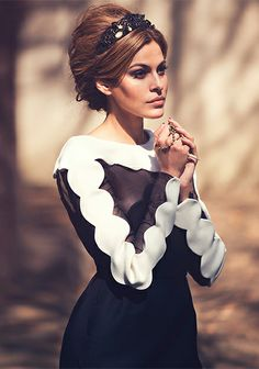 Eva Mendes in black & white #dress by Valentino headband by Dolce & Gabbana  | THE EDIT
