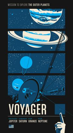 """Voyager: Mission to Explore the Outer Planets. Part of a series of posters based on three robotic space probe missions either from the past or currently active today. This poster is screen-printed 3-colors 20""""x36"""". https://www.kickstarter.com/projects/chopshopstore/historic-robotic-spacecraft-poster-series"""