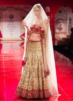 Cream and Red Bridal Lehenga Choli Set with Zardozi Work