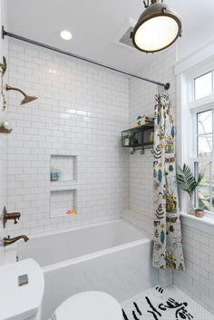 White Tile Bathroom Gray Grout built in shower nook, with white subway tiles and dark gray grout