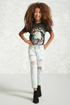 Forever 21 Girls - A pair of denim jeans featuring a distressed design, studded accents, faded wash, five-pocket construction, and zip fly.