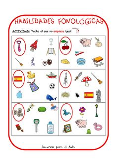 Centro Deusto de Psicopedagogía y Logopedia: CONCIENCIA FONOLÓGICA Phonemic Awareness Activities, Phonological Awareness, Preschool Literacy, Preschool Worksheets, Oral Motor, Bilingual Education, Activity Centers, Teaching Spanish, Speech Therapy