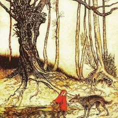 The wolf thought to himself: 'What a tender young creature! what a nice plump mouthful - she will be better to eat than the old woman. I must act craftily, so as to catch both.' So he walked for a short time by the side of Little Red Riding Hood, and then he said: 'See, Little Red Riding Hood, how pretty the flowers are about here - why do you not look round? I believe, too, that you do not hear how sweetly the little birds are singing; you walk gravely along as if you were going to school… Little Birds, Little Red, Grimm, Red Riding Hood, Conte, Old Women, Fairy Tales, Old Things, Creatures