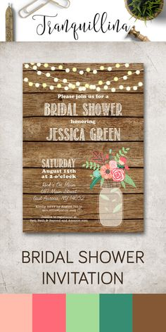 Rustic Bridal Shower Invitation Printable, Country Bridal Shower Invitation, Mason Jar Bridal Shower Party Invite. Spring / summer Bridal Planning.You can find matching games, cards & signs on the following link: tranquillina.etsy.com