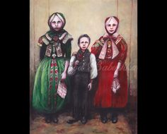 Three Children In Eastern European Costume, Original Painting, Portrait, Folk Dress, Costume, Colorful, Turn of the Century, Red, Green by mygoodbabushka on Etsy