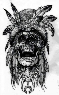 Skull hat and feathers