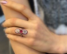 A striking composition featuring a round cut ruby in the centre and rose cut diamonds on each side of this formation. Diamonds And Gold, Gold Diamond Rings, Rose Cut Diamond, Gold Rings, Ivy, Moth, Instagram Posts, Centre, Composition