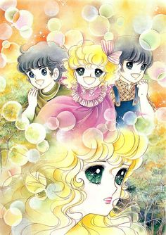 Georgie and her brothers by Mann Izawa•Art of Yumiko Igarashi color sleeve ✤ || ジョージィ! (Jōjī!) • concept art, #shojo clasico #historieta #anime #cartoni #animati #comics #cartoon from the art Yumiko Igarashi || ✤ #Georgie, レディジョージィ Redi Jōjī 1982- Shojo comic